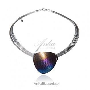 """Naszyjnik ze srebra i tytanu -""""Kolory tęczy""""- biżuteria artystyczna ręcznie wykonana"""