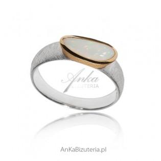 Pierścionek srebrny z naturalnym opalem - 17