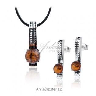 Oryginalny Komplet biżuterii z bursztynem