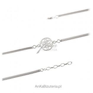 Piekna bransoletka srebrna rodowana Rozetka