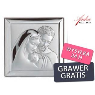 Święta Rodzina - obrazek srebrny-Wyjątkowo piękny-na prezent GRAWER