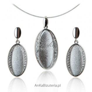 Biżuteria srebrna z cyrkoniamii Komplet srebrny