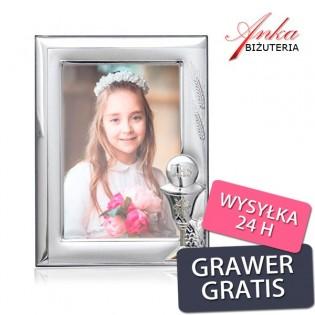 Ramka srebrna do zdjęcia 9*13 - Prezent Komunię Świętą GRAWER