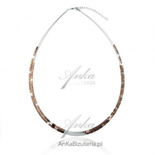 Naszyjnik srebrny z hematytem - brązowy