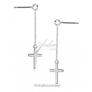 Kolczyki srebrne Krzyżyk na łańcuszku