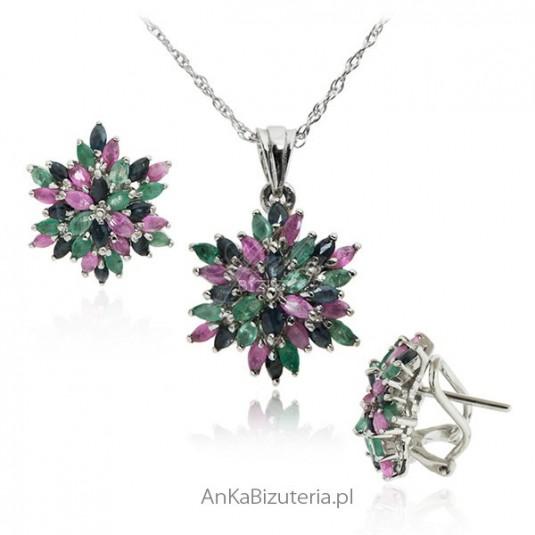 Elegancki komplet biżuterii szafir rubin szmarakd
