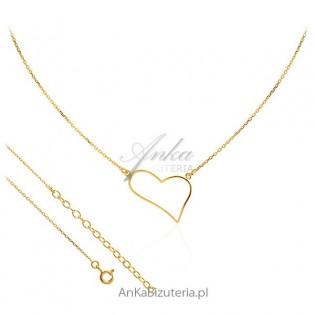 Naszyjnik srebrny pozłacany - Asymetryczne serce