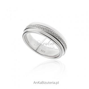 Obrączka srebrna z mikrocyrkoniami - Antystresowa
