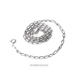 Łańcuszek srebrny rodowany Long