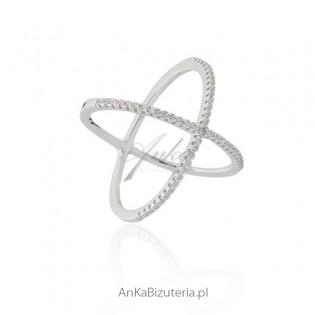 Modna biżuteria Pierścionek srebrny X - Line Art Hiszpania