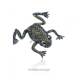 Oryginalna broszka srebrna Zielona żabka