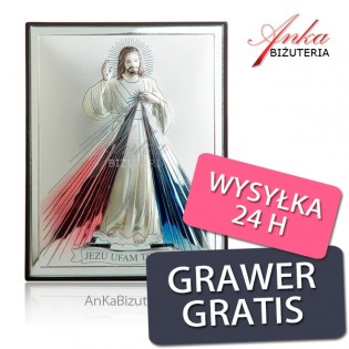 Obrazek srebrny Jezu Ufam Tobie 13 cm x 18 cm