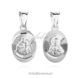 Medalik srebrny Jezus / Matka Boska Szkaplerzna