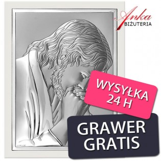 Pamiątka Chrztu dla dziecka Aniołek - Obrazek srebrny 11 cm/6,5 cm