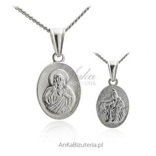 Medalik srebrny Szkaplerz - Matka Boska Szkaplerzna - Medalik na Komunie