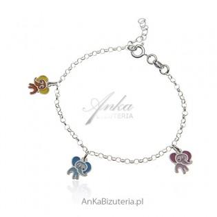 Biżuteria dziecięca - bransoletka srebrna z kolorowymi słonikami