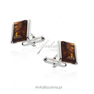 Srebrne spinki do koszul - Spinki srebrne z bursztynem - tradycyjna biżuteria męska