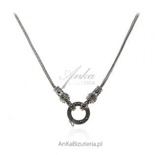 Naszyjnik srebrny z markazytami - 2 w 1 - łańcuszek plus naszyjnik