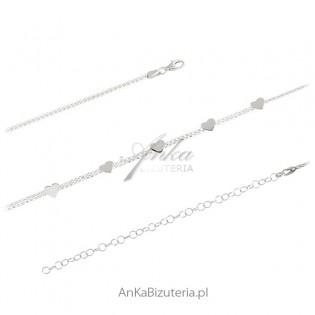 Naszyjnik srebrny choker z serduszkami - Modna biżuteria włoska