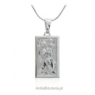 Medalik srebrny św. Krzysztof - medalik włoski