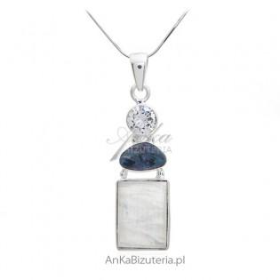 Zawieszka srebrna z kamieniem księżycowym , prawdziwym opalem i cyrkonią