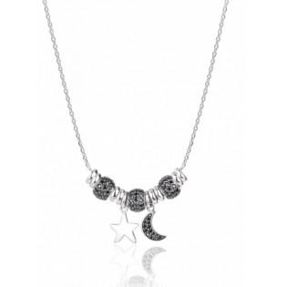 Naszyjnik srebrny z czarnymi cyrkoniami - Kolekcja księżycowa