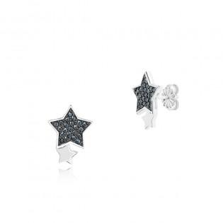 Kolczyki srebrne czarne gwiazdki - Kolekcja ASTRO firmy DallAcqua