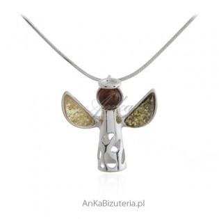 Aniołek srebrny z bursztynem - Zawieszka srebrna