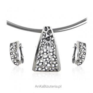 Komplet biżuteria srebrna oksydowana z kolekcji SCARLETT