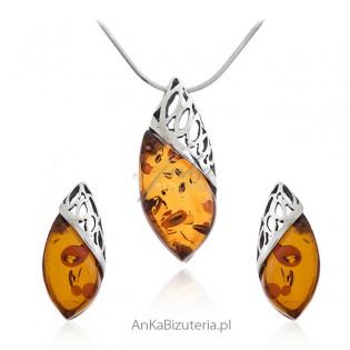 Komplet biżuteria srebrna z bursztynem _ Biżuteria z bursztynem