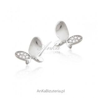 Kolczyki srebrne z cyrkoniami - MOTYLKI - rodowane
