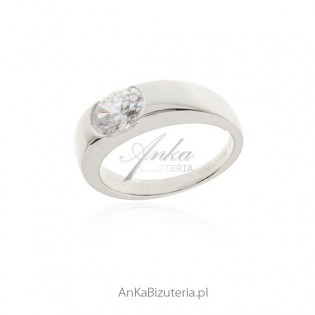 Piękny srebrny pierścionek z cyrkonią - Biżuteria srebrna włoska