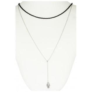 Biżuteria srebrna podwójny naszyjnik RĘKA FATIMY ze spinelami