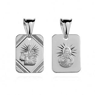 Medalik srebrny diamentowany Jezus/ Matka Boska Szkaplerzna