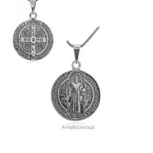 Duży medalik srebrny oksydowany Św Benedykta