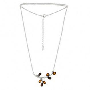 Wyjątkowa biżuteria srebrna z bursztynem - Naszyjnik srebrny z bursztynem GAŁĄZKA
