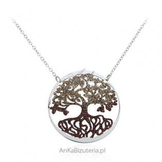 Srebrny naszyjnik DRZEWKO SZCZĘŚCIA - pięknie świecące
