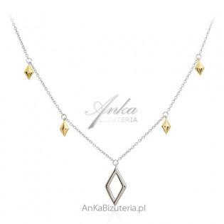 Biżuteria srebrna Naszyjnik GEOMETRIC z elementami pozłacanymi