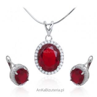 Komplet biżuteria srebrna z czerwoną cyrkonią