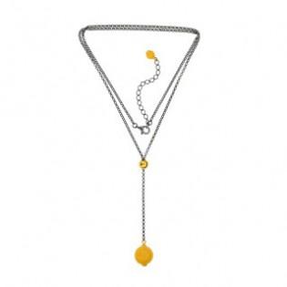 Naszyjnik srebrny oksydowany z żółtym bursztynem