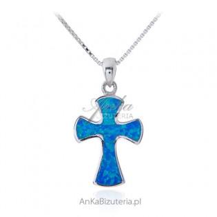 Krzyżyk srebrny z niebieskim opalem