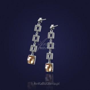 Biżuteria: Kolczyki kwadraciki z Swarovsky ellements.