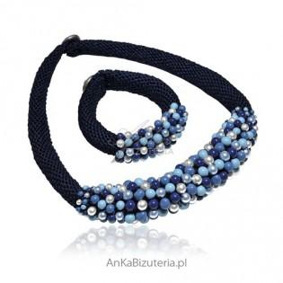 Naszyjnik i bransoletka -biżuteria autorska, rękodzieło z pereł Swarovski