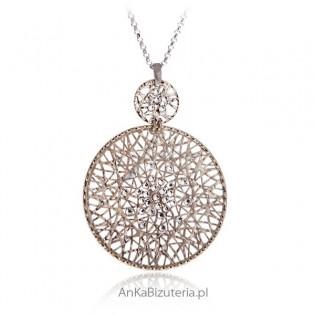 Piękna biżuteria srebna Duży Naszyjnik srebrny pozłacany
