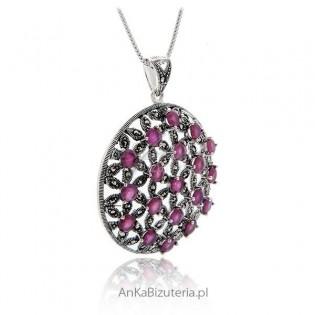 Biżuteria srebrna Wisior srebrny rubin i markazyty