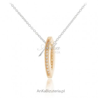 Srebrna biżuteria: Wisiorek srebrny pozłącany z microcyrkonią - Złota oponka