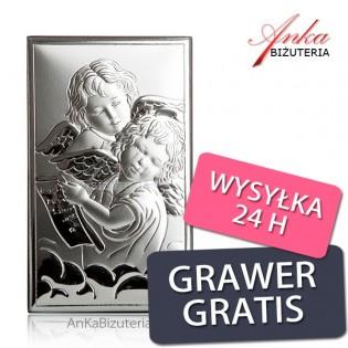 Obrazek srebrny Aniołki Pamiątka dla dziecka na Chrzest, Roczek, Komunie