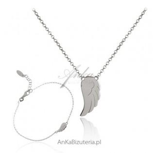 Komplet biżuterii srebrnej Skrzydełko