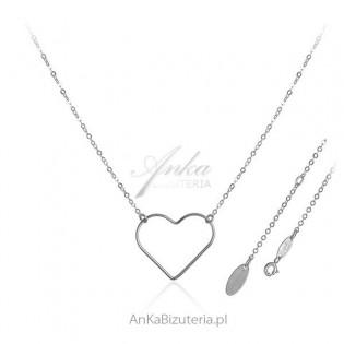 Delikatna biżuteria srebrna - Naszyjnik z dużym serduszkiem