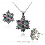 Elegancki komplet biżuterii szafir rubin szmaragd